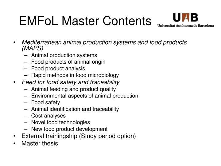 EMFoL Master Contents