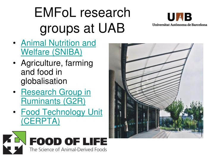 EMFoL research groups at UAB