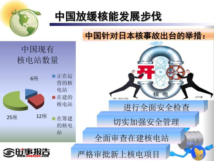 中国放缓核能发展步伐