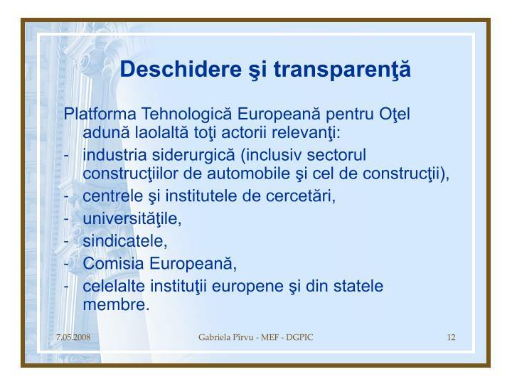 Deschidere şi transparenţă