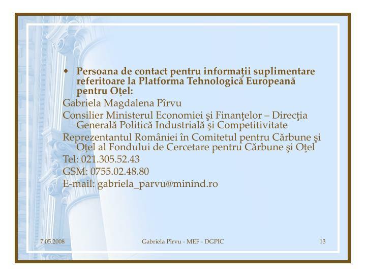Persoana de contact pentru informaţii suplimentare referitoare la Platforma Tehnologică Europeană pentru Oţel: