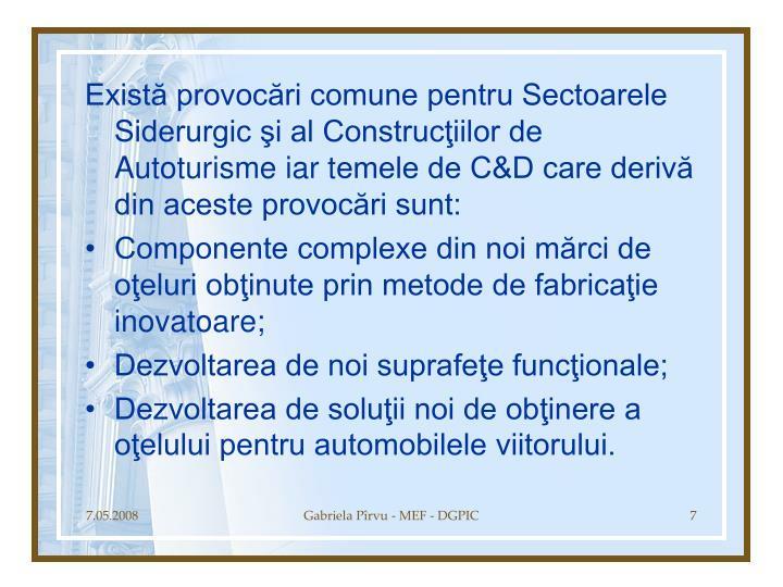 Există provocări comune pentru Sectoarele Siderurgic şi al Construcţiilor de Autoturisme