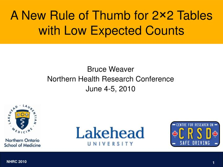 A new rule of thumb for 2 2 tables with low expected counts