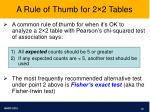 a rule of thumb for 2 2 tables