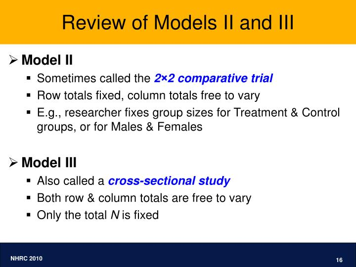 Review of Models II and III