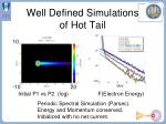 well defined simulations of hot tail