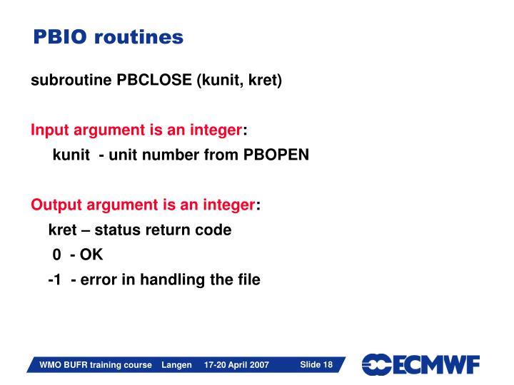 PBIO routines