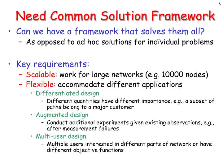 Need Common Solution Framework