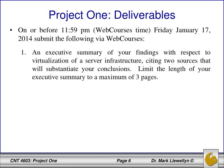 Project One: Deliverables
