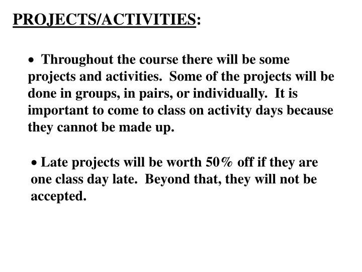 PROJECTS/ACTIVITIES