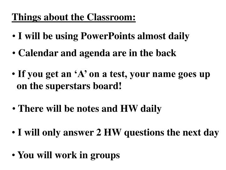Things about the Classroom: