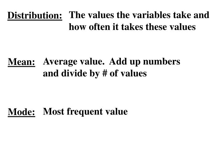 The values the variables take and how often it takes these values