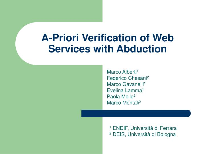 A priori verification of web services with abduction