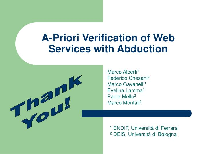 A-Priori Verification of Web Services with Abduction