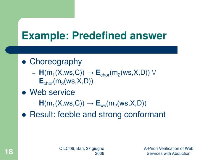 Example: Predefined answer