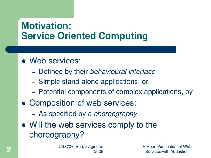 Motivation service oriented computing