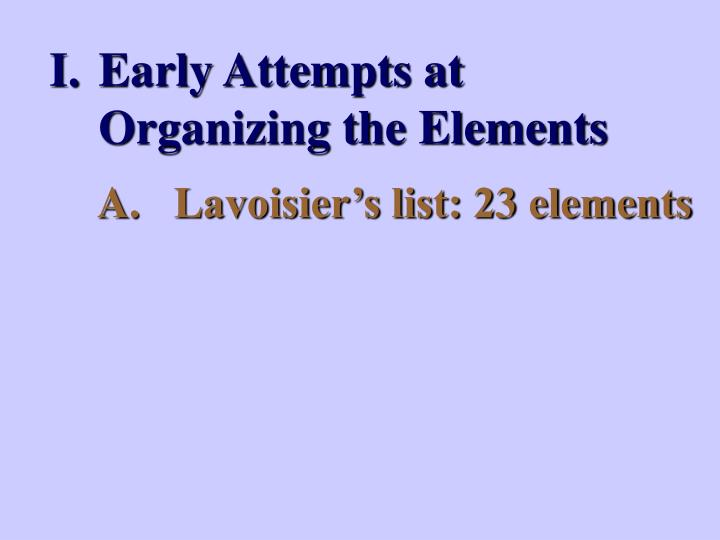 Early Attempts at Organizing the Elements