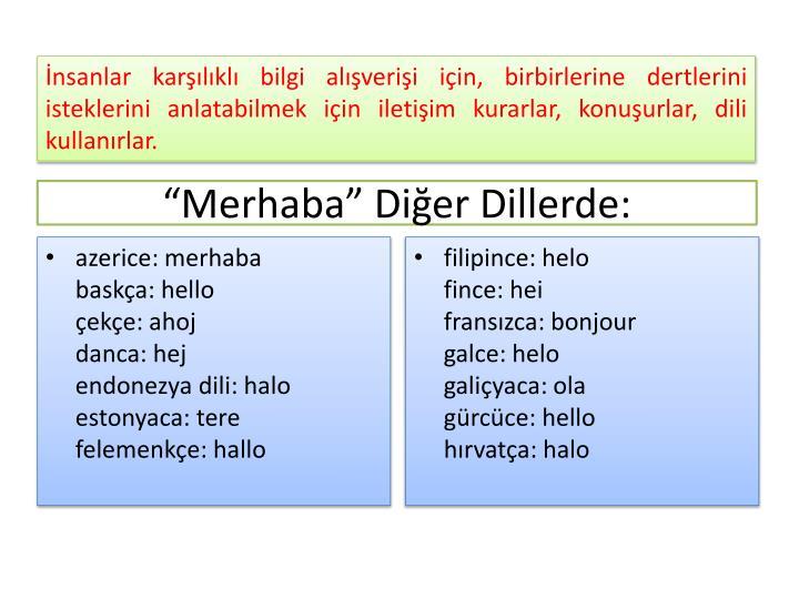 """Merhaba"" Diğer Dillerde:"