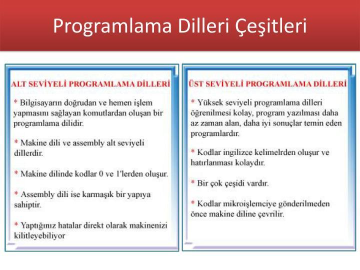 Programlama Dilleri Çeşitleri