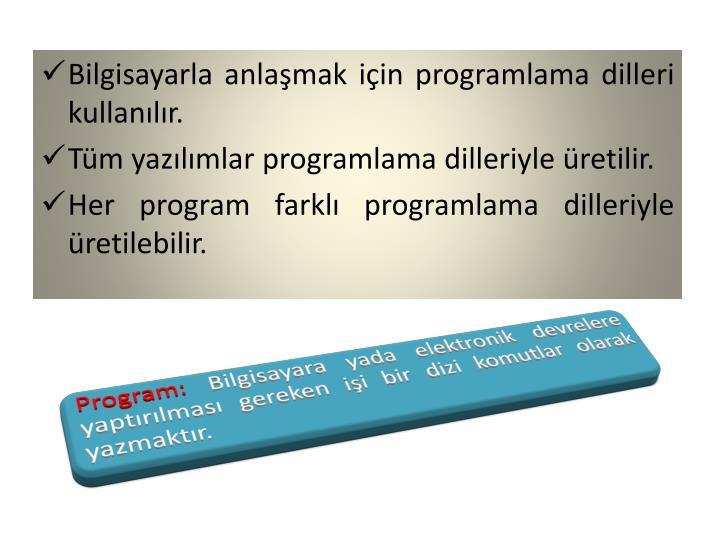Bilgisayarla anlaşmak için programlama dilleri kullanılır.