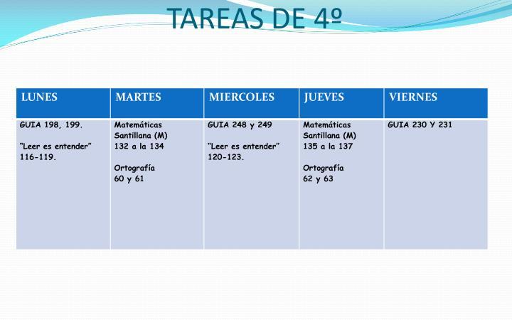 TAREAS DE 4º