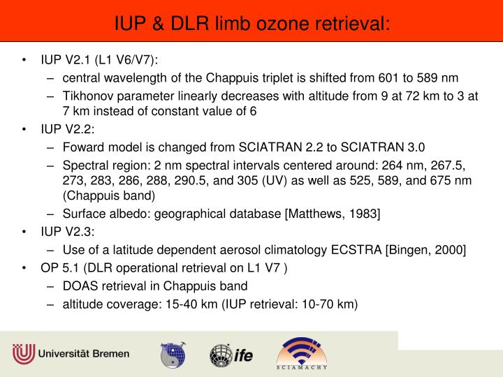 Iup dlr limb ozone retrieval