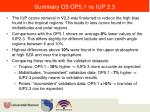 summary o3 op5 1 vs iup 2 3