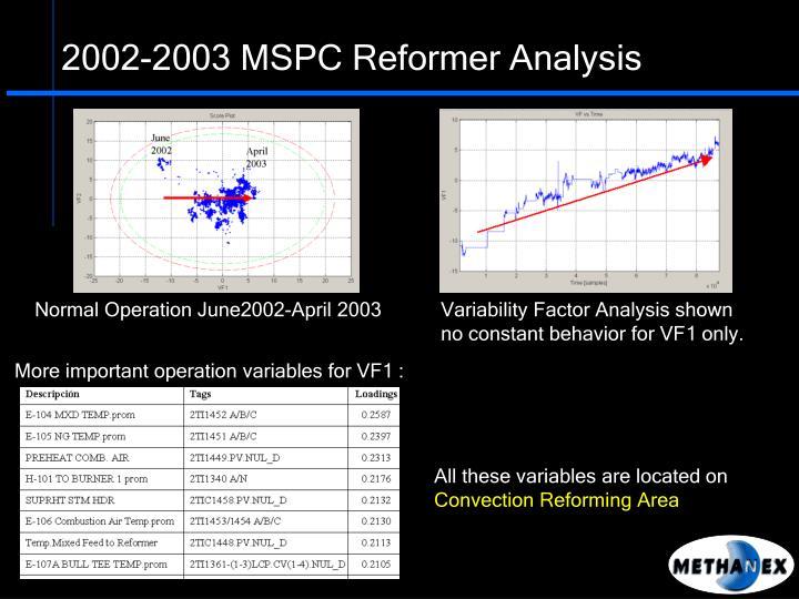 2002-2003 MSPC Reformer Analysis