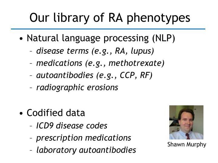Our library of RA phenotypes
