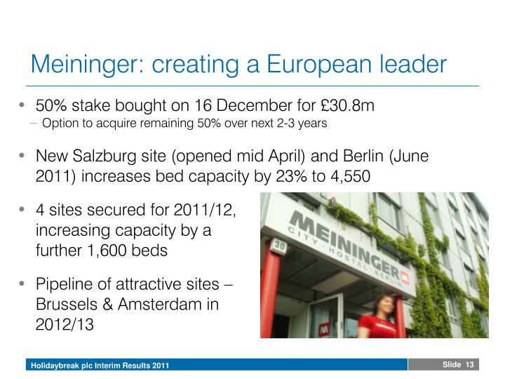 Meininger: creating a European leader