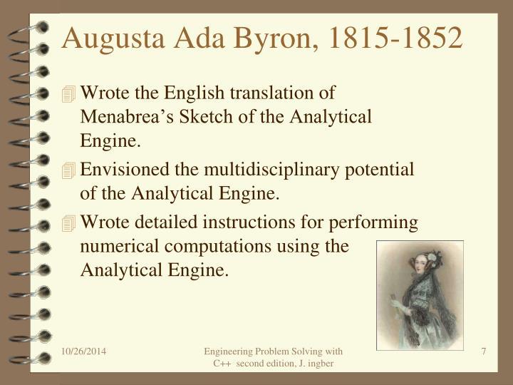 Augusta Ada Byron, 1815-1852