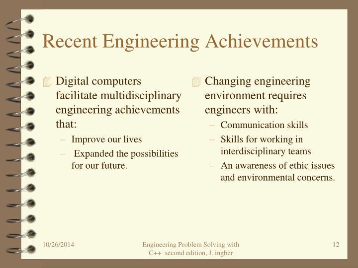Recent Engineering Achievements