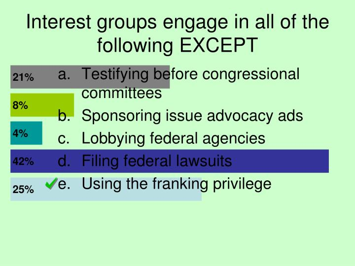 Interest groups engage in all of the following EXCEPT
