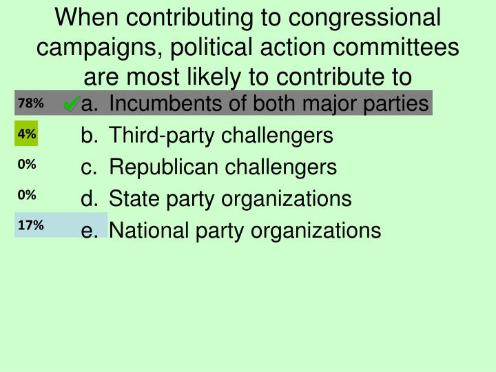 When contributing to congressional campaigns, political action committees are most likely to contribute to
