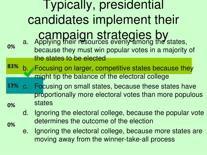 Typically, presidential candidates implement their campaign strategies by
