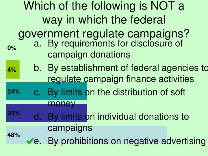 Which of the following is NOT a way in which the federal government regulate campaigns?