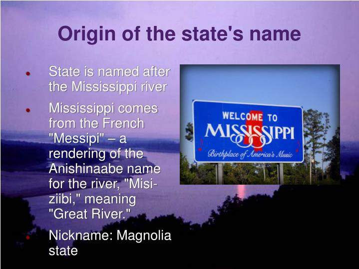 Origin of the state's name
