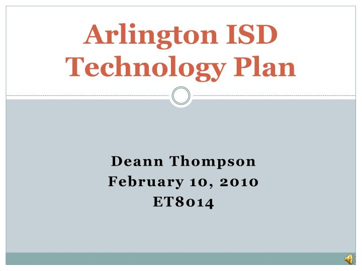 Arlington isd technology plan
