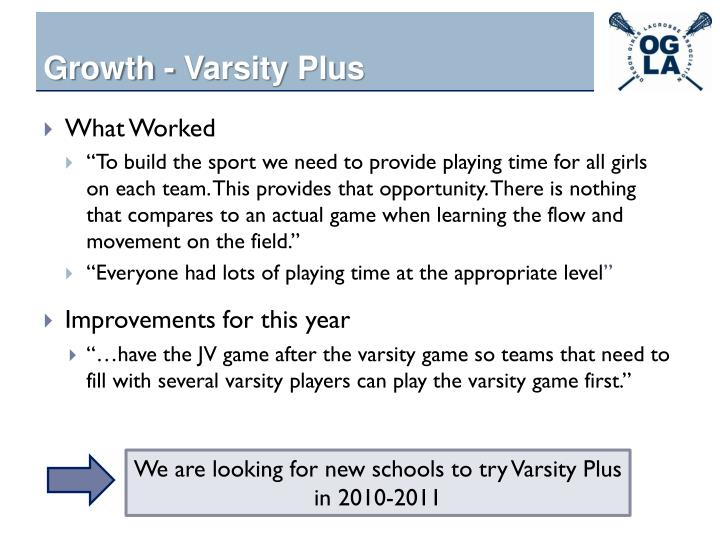 Growth - Varsity Plus