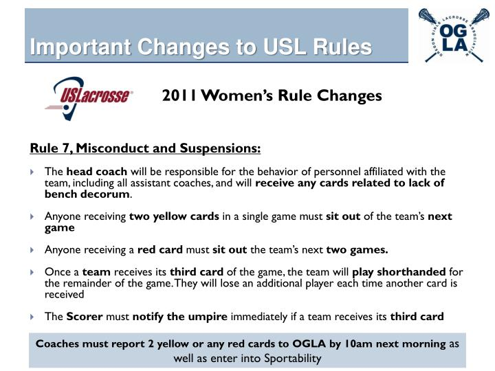 Important Changes to USL Rules