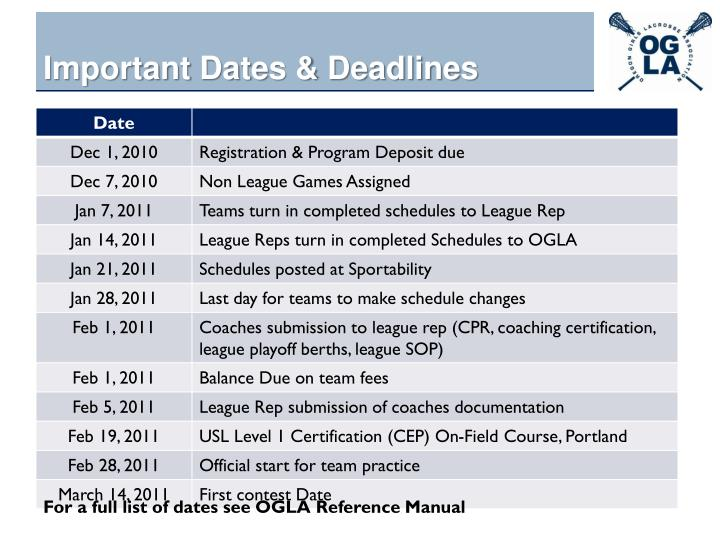 Important dates deadlines