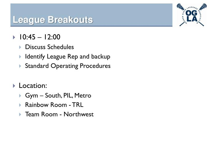 League Breakouts