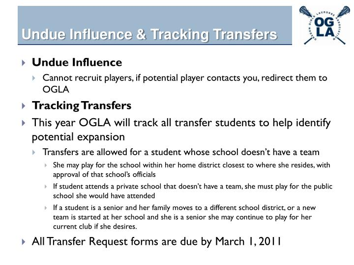 Undue Influence & Tracking Transfers