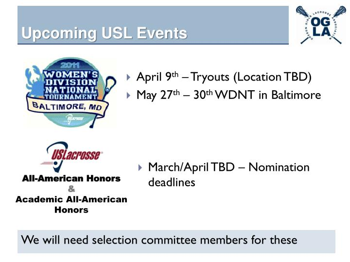 Upcoming USL Events