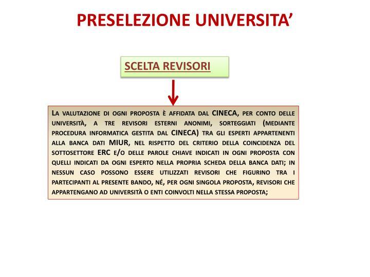 PRESELEZIONE UNIVERSITA'