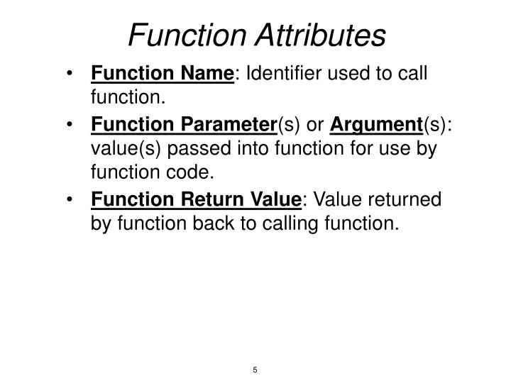 Function Attributes