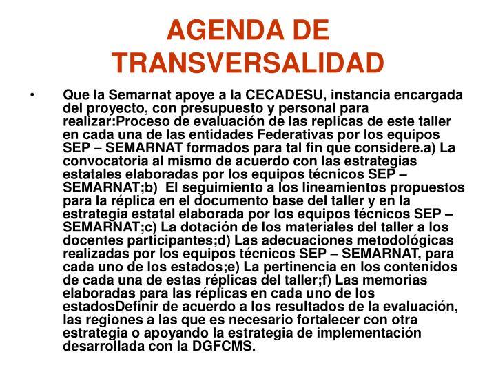 AGENDA DE TRANSVERSALIDAD