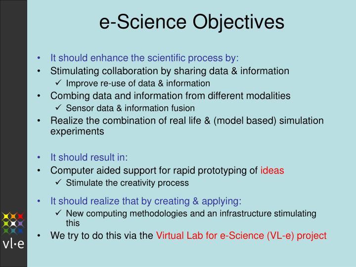 e-Science Objectives