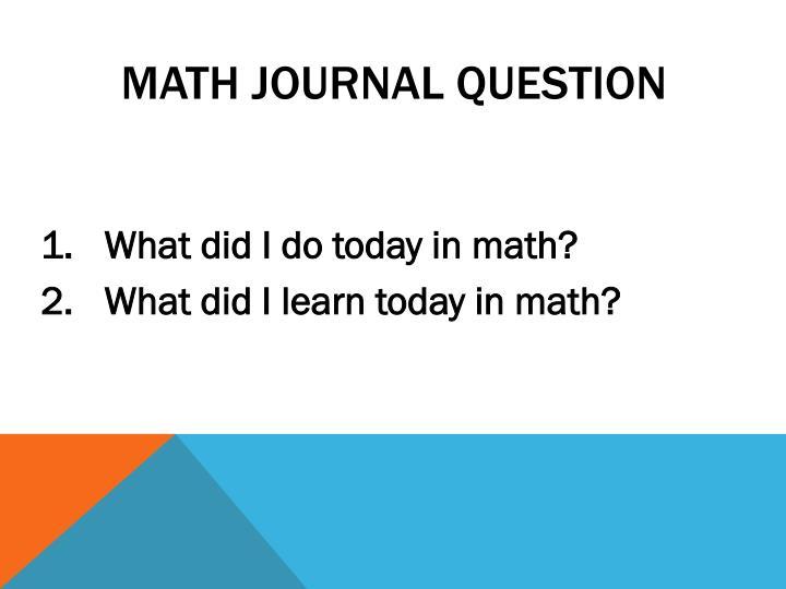 Math Journal Question