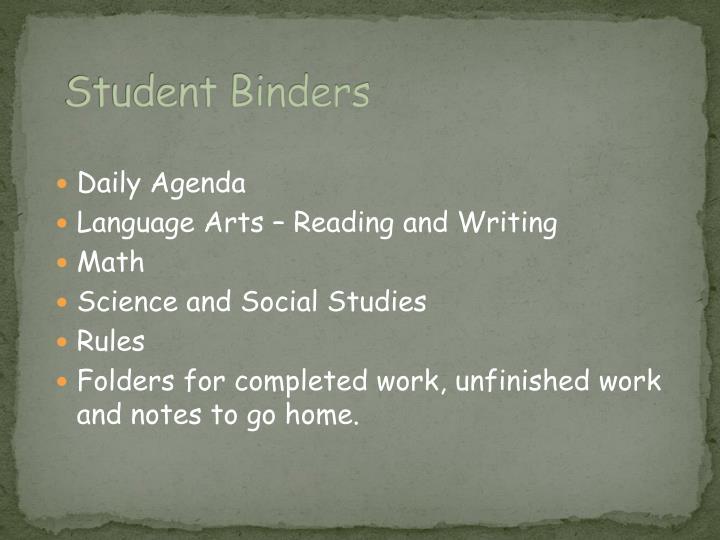 Student Binders